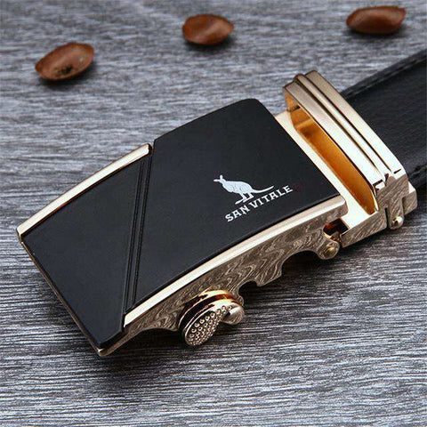 The Geess SV 1431G / 110cm Famous Brand Belt Men 100% Cow skin Genuine Luxury Leather Metal Alloy