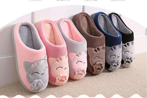 Image of The Geess Women Autumn Home Slippers Ladies Cartoon Cat Shoes Non-slip Soft Warm Slippers