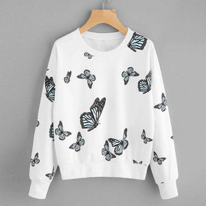 Butterfly Printing Long Sleeve Casual Sweatshirt