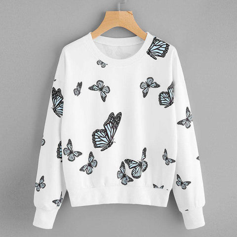 The Geess Women Butterfly Printing Long Sleeve Casual Sweatshirt Pullover Tops Blouse