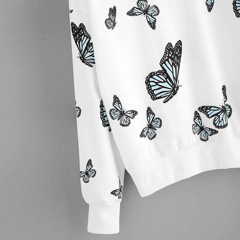 Image of The Geess Women Butterfly Printing Long Sleeve Casual Sweatshirt Pullover Tops Blouse