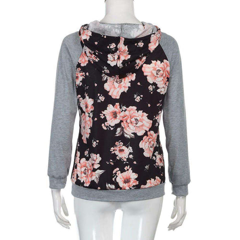 The Geess Women`s Floral Loose Hooded Sweatshirt