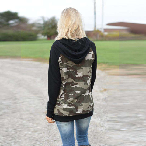 The Geess Women`s Long Sleeve Splice Camouflage Hoodie