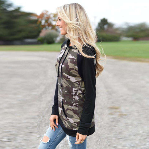 Image of The Geess Women`s Long Sleeve Splice Camouflage Hoodie