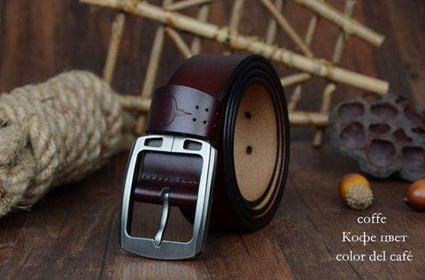 The Geess XF001 coffee / 100cm Men`s cowhide genuine leather belts