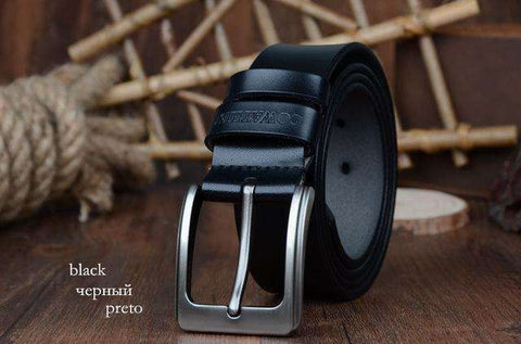 The Geess XF002 black / 100cm Men`s cowhide genuine leather belts