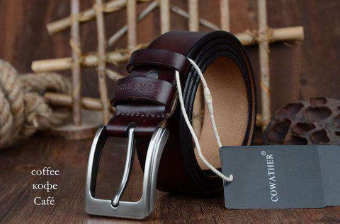 The Geess XF002 coffee / 100cm Men`s cowhide genuine leather belts