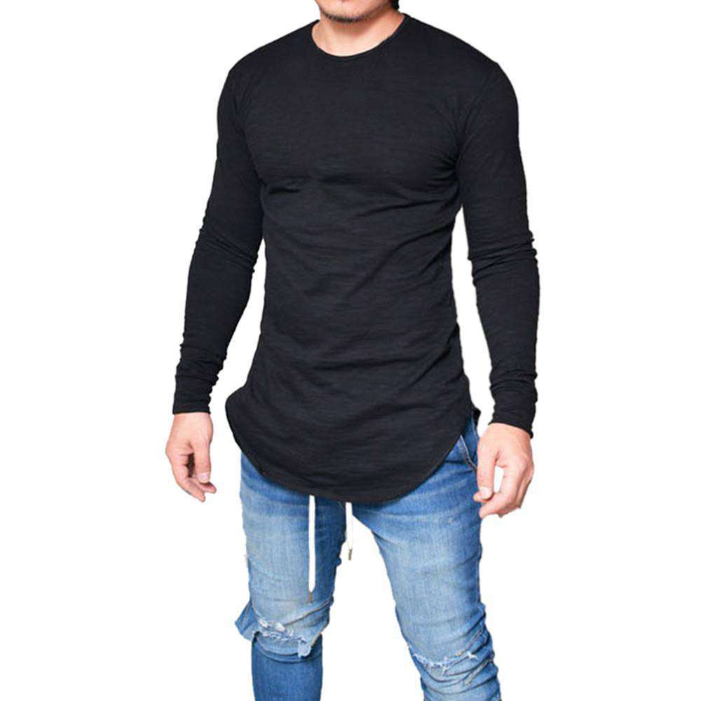 thegeess Black / XXL Men Slim Fit O Neck Long Sleeve Muscle Tee T-shirt Casual Tops Blouse