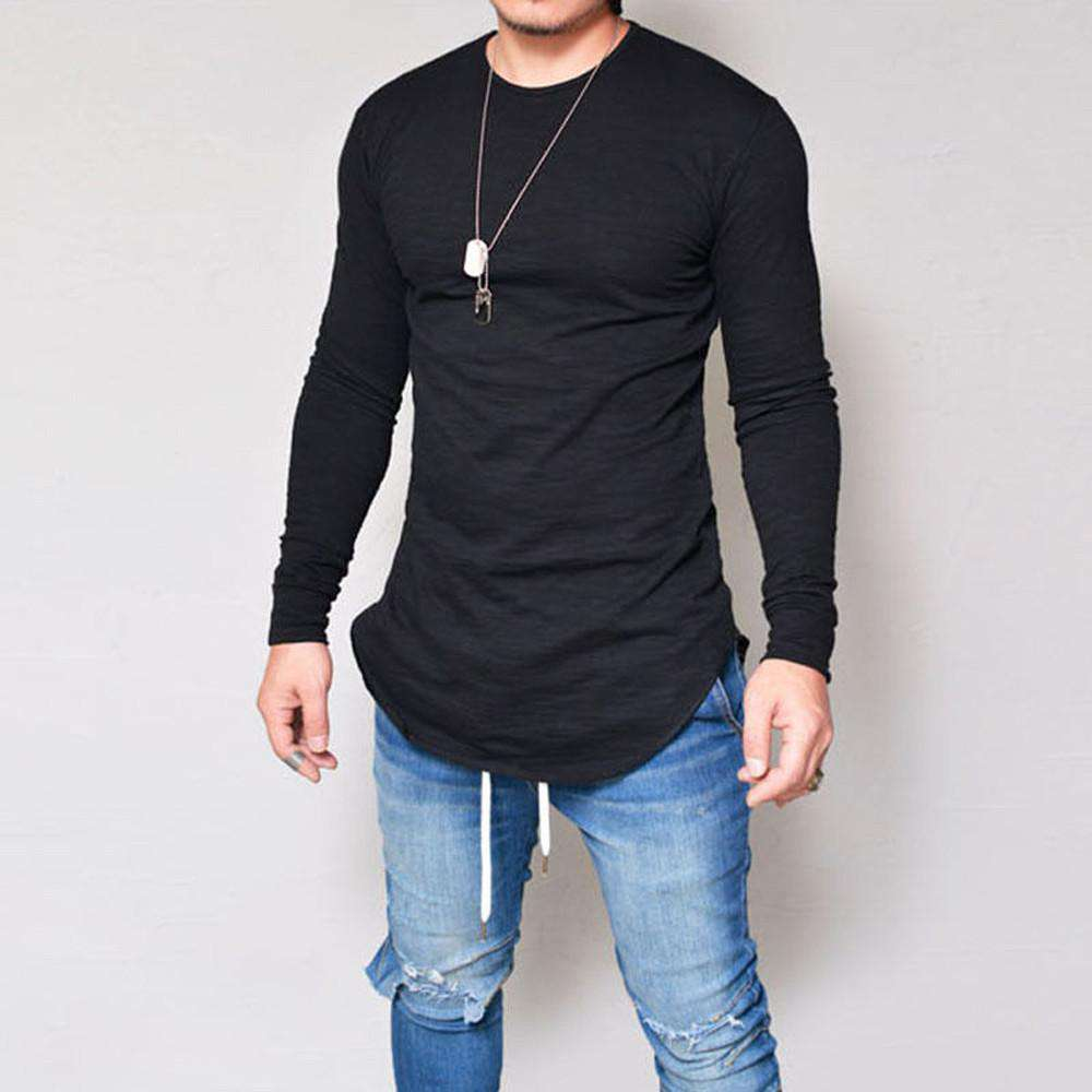 thegeess Black / XXXL Men Slim Fit O Neck Long Sleeve Muscle Tee T-shirt Casual Tops Blouse