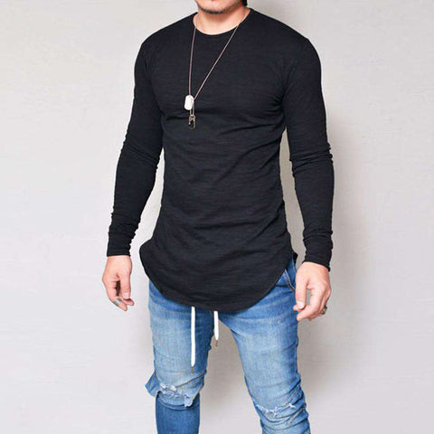 Image of thegeess Black / XXXL Men Slim Fit O Neck Long Sleeve Muscle Tee T-shirt Casual Tops Blouse