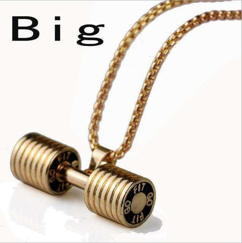 thegeess gold / big Dumbbell Pendant Fitness Necklace Bodybuilding Gym
