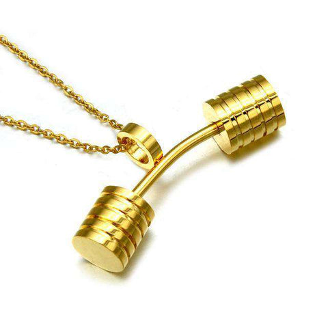 thegeess Gold-color HIP Fitness Barbell Dumbbells Pendants & Necklaces
