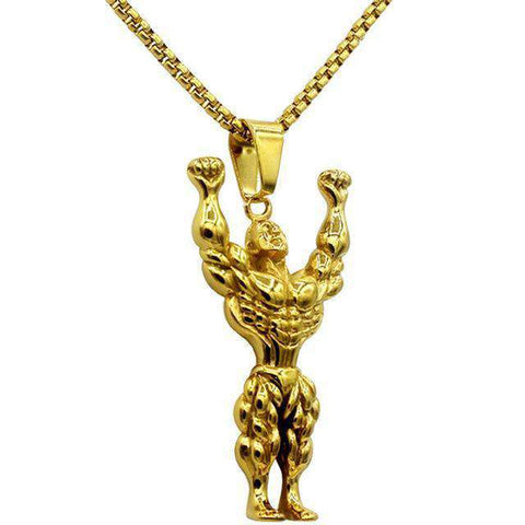 thegeess Gold Silver Gold Color Alloy Strong Man Charm Pendant Necklace