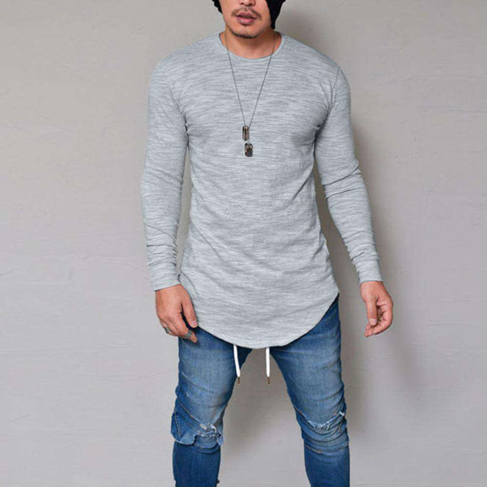 thegeess Gray / XXL Men Slim Fit O Neck Long Sleeve Muscle Tee T-shirt Casual Tops Blouse