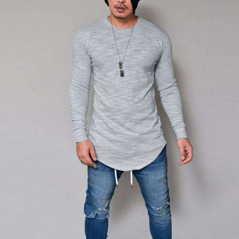 Image of thegeess Gray / XXL Men Slim Fit O Neck Long Sleeve Muscle Tee T-shirt Casual Tops Blouse