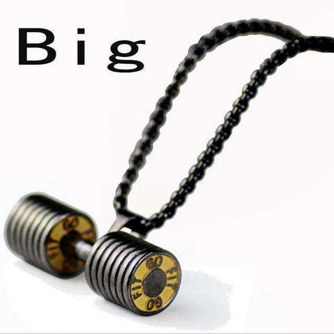 thegeess gun black / big Dumbbell Pendant Fitness Necklace Bodybuilding Gym