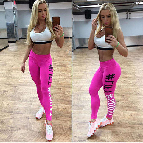 thegeess Hot Pink / L Women leggings wit hashtag print Leggings