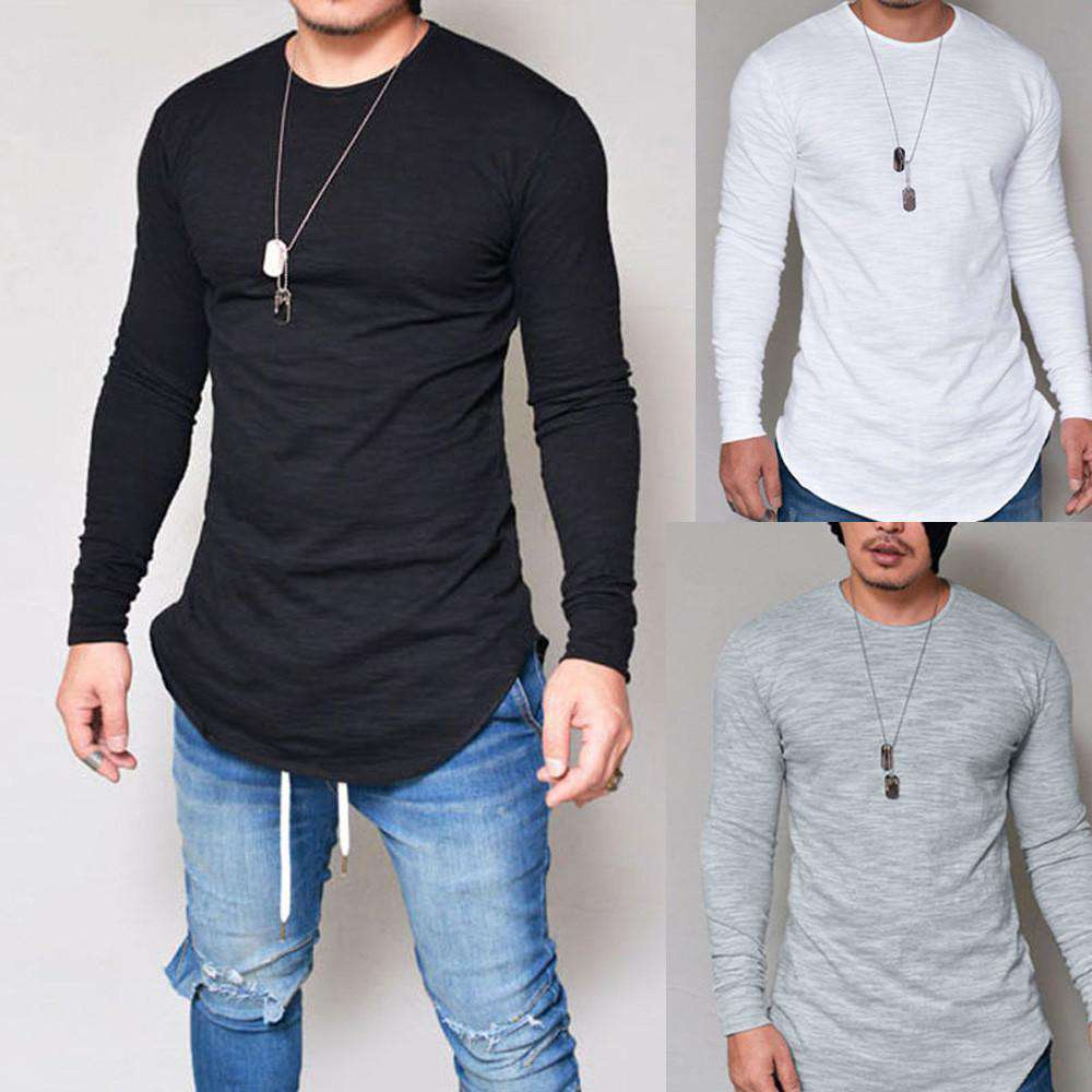thegeess Men Slim Fit O Neck Long Sleeve Muscle Tee T-shirt Casual Tops Blouse