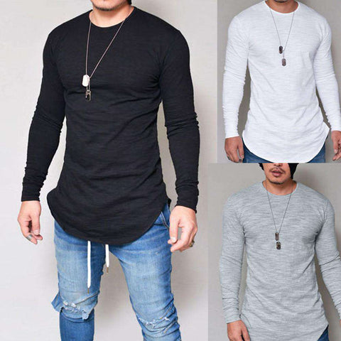 Image of thegeess Men Slim Fit O Neck Long Sleeve Muscle Tee T-shirt Casual Tops Blouse