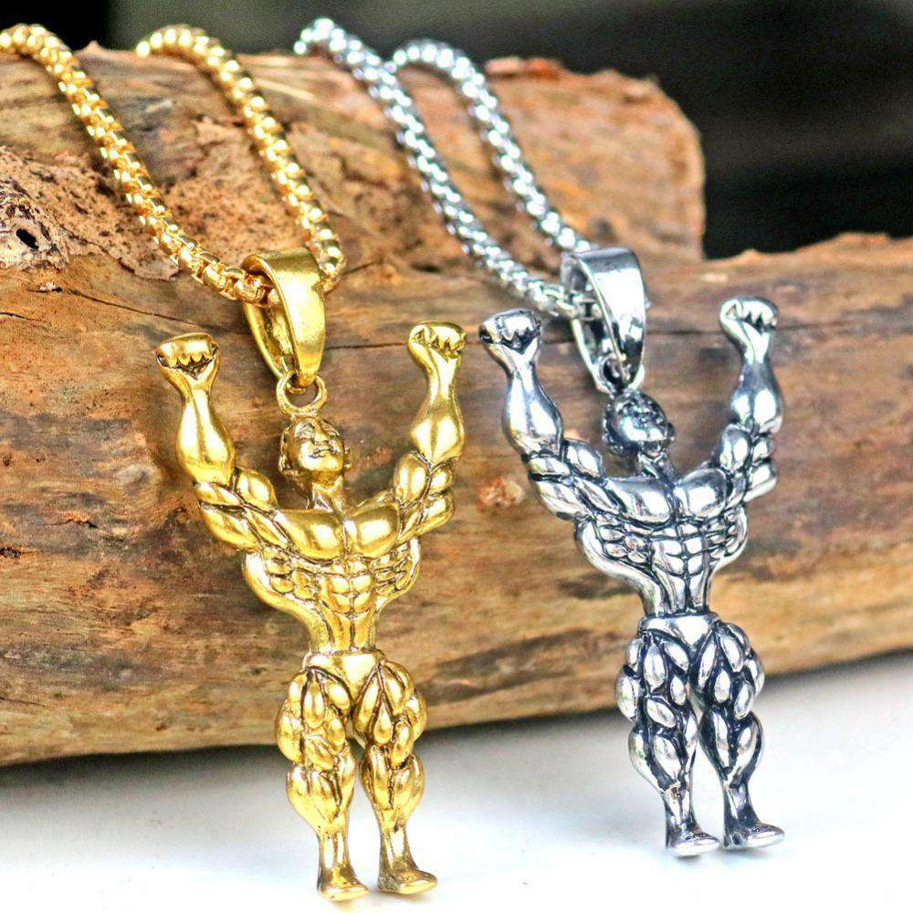 thegeess Silver Gold Color Alloy Strong Man Charm Pendant Necklace