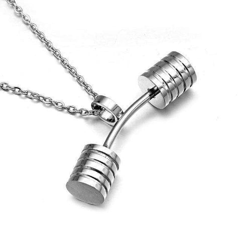 thegeess Silver Plated HIP Fitness Barbell Dumbbells Pendants & Necklaces