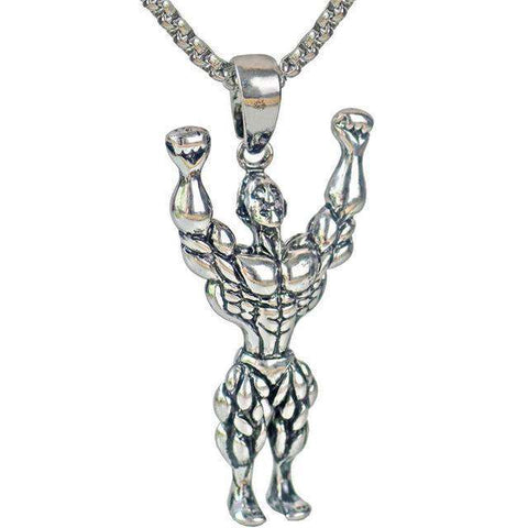 thegeess Silver Silver Gold Color Alloy Strong Man Charm Pendant Necklace