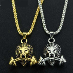 thegeess Steampunk 3D Lion Dumbbell Necklace