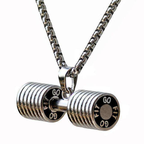 thegeess white k / big Dumbbell Pendant Fitness Necklace Bodybuilding Gym