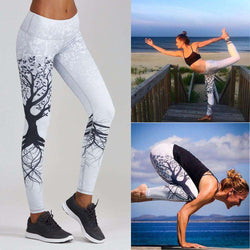thegeess White / M Women Printed Sports Yoga Workout Gym Fitness Exercise Athletic Pants