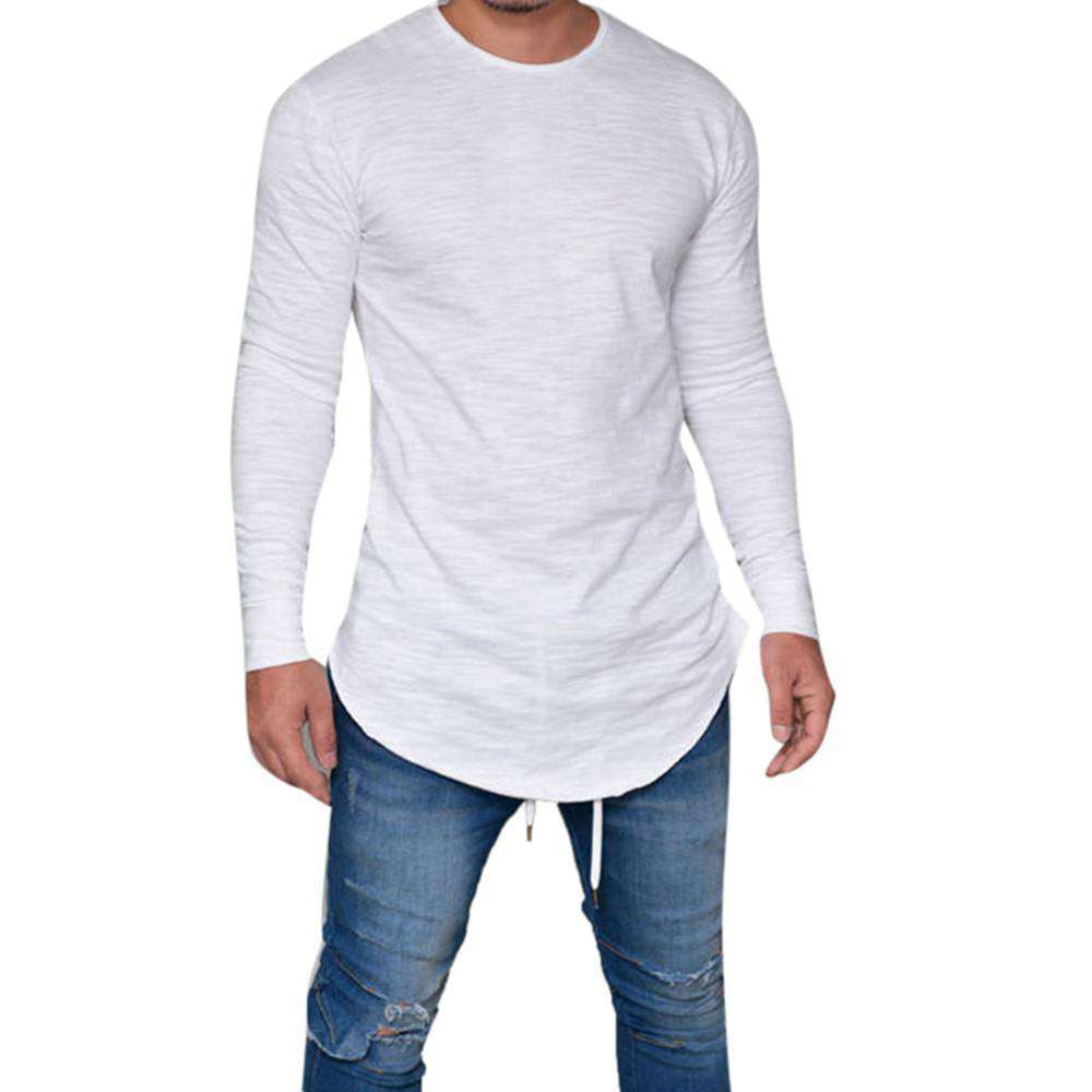 thegeess White / XXL Men Slim Fit O Neck Long Sleeve Muscle Tee T-shirt Casual Tops Blouse