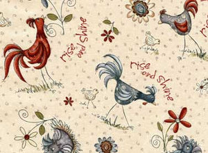 Quilting Fabric Home to Roost-Roosters by Terri Degenkolb of Whimsicals