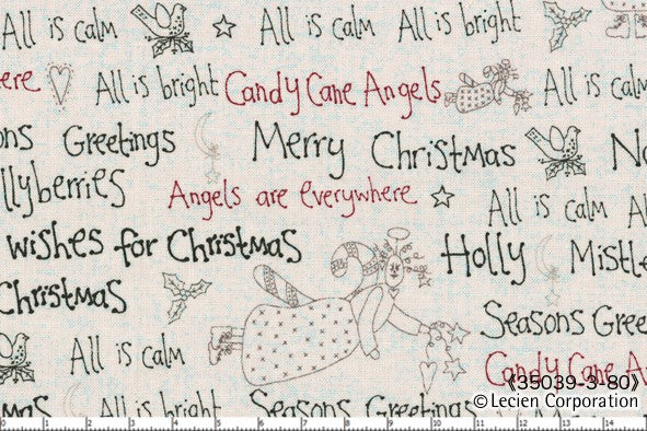 Quilting Fabric Lynette Anderson Candy Cane Angels 35039-10