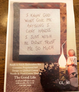 GOD'S TRUST Embroidery Kit by The Good Life