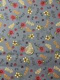 Quilting Fabric Among The Flowers Dark Grey by Red Rooster