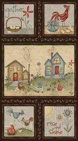 Quilting Fabric Home to Roost Panel by Terri Degenkolb of Whimsicals