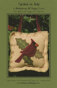 Wool Art Cardinal on Holly Pattern by Meetinghouse Hill Designs