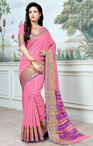 Designer Partywear Cotton Silk Light Pink Printed Zari Work Saree By Takshaya