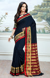 Designer Partywear Cotton Silk Black Printed Zari Work Saree By Takshaya