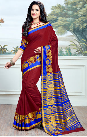 Designer Partywear Cotton Silk Maroon Printed Zari Work Saree By Takshaya