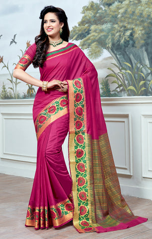Designer Partywear Cotton Silk Pink Printed Zari Work Saree By Takshaya