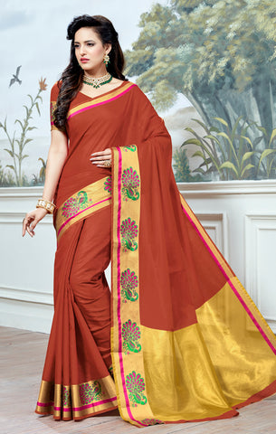 Designer Partywear Cotton Silk Rust Orange Printed Zari Work Saree By Takshaya