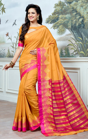 Designer Partywear Cotton Silk Mustard Printed Zari Work Saree By Takshaya