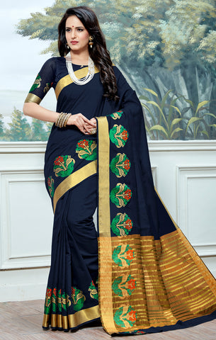 Designer Partywear Cotton Silk Navy Blue Printed Zari Work Saree By Takshaya