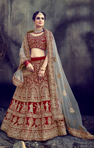 Designer Bridal Red Velvet Semi- Stitched Lehenga