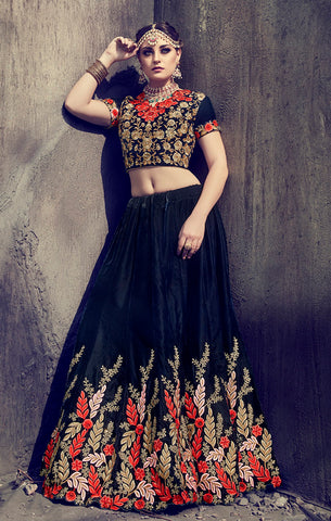 Designer Bridal Wear Navy Blue Velvet Embroidered Semi- Stitched Lehenga Choli