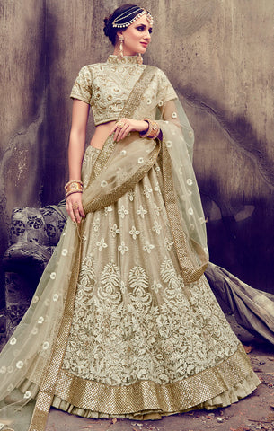 Designer Bridal Wear Beige Georgette and Net Semi- Stitched Lehenga Choli