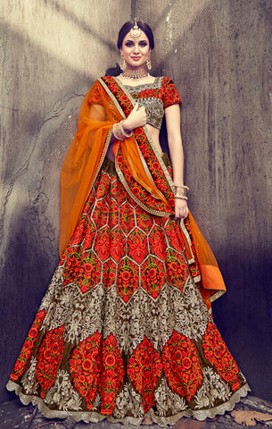 Designer Bridal Wear Orange & Brown Velvet and Net Semi-Stitched Lehenga Choli