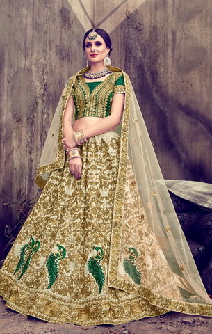 Designer Bridal Wear Off White & Green Silk and Net Semi- Stitched Lehenga Choli