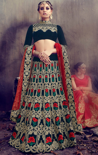 Designer Wedding Wear Bottle Green Velvet & Net Semi-Stitched Lehenga Choli
