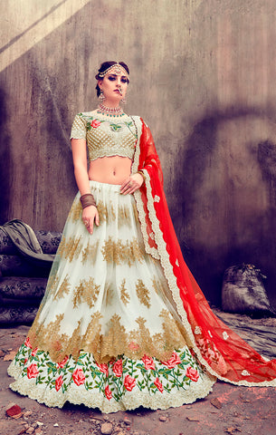 Designer Wedding Wear White & Red Net and Silk Semi-Stitched Lehenga